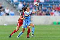 Bridgeview, IL - Saturday August 12, 2017: Katherine Reynolds, Christen Press during a regular season National Women's Soccer League (NWSL) match between the Chicago Red Stars and the Portland Thorns FC at Toyota Park. Portland won 3-2.