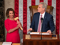 Speaker of the United States House of Representatives Nancy Pelosi (Democrat of California), left, displays the gavel after it was handed to her by US House Minority Leader Kevin McCarthy (Republican of California), right, as the 116th Congress convenes for its opening session in the US House Chamber of the US Capitol in Washington, DC on Thursday, January 3, 2019. Photo Credit: Ron Sachs/CNP/AdMedia