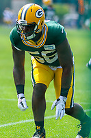 Green Bay Packers linebacker Johnathan Calvin (56) during a training camp practice on August 29, 2017 at Ray Nitschke Field in Green Bay, Wisconsin.   (Brad Krause/Krause Sports Photography)