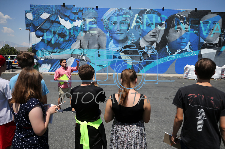 Mark Salinas, Carson City's arts and culture coordinator, takes a group of Boys & Girls Club members on a tour of local murals in Carson City, Nev., on Monday, July 31, 2017. <br /> Photo by Cathleen Allison/Nevada Photo Source