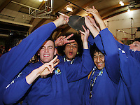 St Pats' Jacob Ashby, Sekonaia Telefoni and Micah Lepaio celebrate victory during the NZ Secondary Schools Basketball Championships match between Fraser High School and St Patricks College at Arena Manawatu, Palmerston North, New Zealand on Saturday 4 October 2008. Photo: Dave Lintott / lintottphoto.co.nz