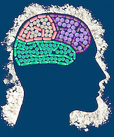 Pills inside head outlined with powder