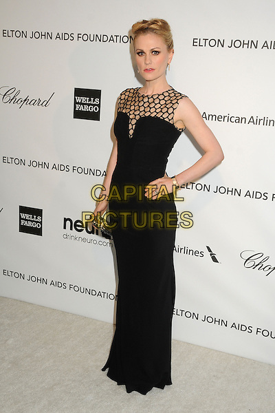 Anna Paquin.21st Annual Elton John Academy Awards Viewing Party held at West Hollywood Park, West Hollywood, California, USA..February 24th, 2013.oscars full length black sleeveless dress hand on hip netting clutch bag.CAP/ADM/BP.©Byron Purvis/AdMedia/Capital Pictures.