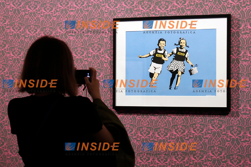 Exhibition of the artist Bansky, titled A visual Protest, at Chiostro del Bramante in Rome. In the picture the painting Running Jack And Jill<br /> Rome (Italy), September 10th 2020<br /> Photo Samantha Zucchi Insidefoto