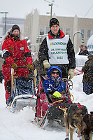 Conway Seavey leaves the 2011 Iditarod ceremonial start line in downtown Anchorage, during the 2012 Iditarod..Jim R. Kohl/Iditarodphotos.com