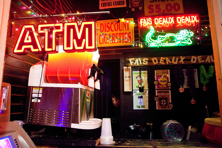 A small drink stand on Bourbon Street during Mardi Gras in New Orleans on February 15, 2010.