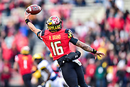 College Park, MD - NOV 11, 2017: Maryland Terrapins quarterback Ryan Brand (16) cannot make the catch at the end of a Halfback pass trick play during game between Maryland and Michigan at Capital One Field at Maryland Stadium in College Park, MD. (Photo by Phil Peters/Media Images International)