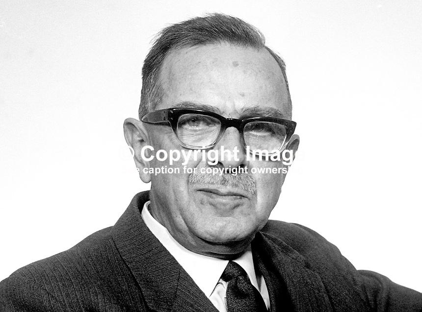 Dr Norman Laird, MP, Ulster Unionist, St Anne's, Belfast, in the N Ireland Parliament at Stormont. March 1969. 196903000107a<br />