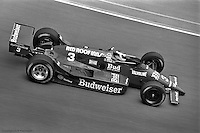 INDIANAPOLIS, IN - MAY 31: Bobby Rahal drives his March 86C 13/Cosworth to victory in the Indianapolis 500 on May 31, 1986, at the Indianapolis Motor Speedway in Indianapolis, Indiana.