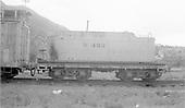 Side view of water car W493 at Durango - tender body - ex C-16 #206.<br /> D&amp;RGW  Durango, CO  Taken by Welch, Ronald - 8/8/1954