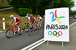 The peloton pass the Paris 2024 Olympics bid sign during Stage 12 of the 104th edition of the Tour de France 2017, running 214.5km from Pau to Peyragudes, France. 13th July 2017.<br /> Picture: ASO/Alex Broadway | Cyclefile<br /> <br /> <br /> All photos usage must carry mandatory copyright credit (&copy; Cyclefile | ASO/Alex Broadway)