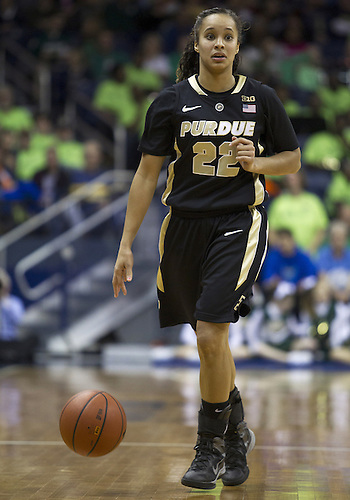 December 29, 2012:  Purdue guard KK Houser (22) dribbles the ball during NCAA Women's Basketball game action between the Notre Dame Fighting Irish and the Purdue Boilermakers at Purcell Pavilion at the Joyce Center in South Bend, Indiana.  Notre Dame defeated Purdue 74-47.