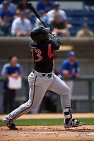 Lake Elsinore Storm right fielder Jorge Ona (13) follows through on his swing during a California League game against the Rancho Cucamonga Quakes at LoanMart Field on May 20, 2018 in Rancho Cucamonga, California. Rancho Cucamonga defeated Lake Elsinore 6-2. (Zachary Lucy/Four Seam Images)