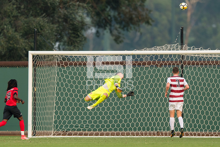 Stanford, CA - September 3, 2017: Nico Corti makes a save as Stanford defeats the Northeastern Huskies 1-0 in a Men's soccer exhibition at Laird Q. Cagan Stadium.