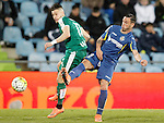 Getafe's Alvaro Vazquez (r) and Sociedad Deportiva Eibar's David Junca during La Liga match. March 18,2016. (ALTERPHOTOS/Acero)