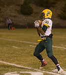 Manogue Miners Peyton Dixon (10) makes the catch on a kickoff against the Spanish Springs Cougars football game played on Friday night, November 9, 2018 at Spanish Springs High School in Sparks, Nevada.