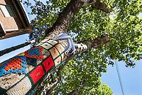 Bellaria Igea Marina,l'Associazione Officina delle Idee ha rivestito gli alberi del viale dei Platani con lavori a maglia