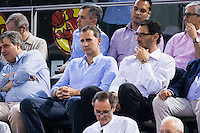 King Felipe VI and Jorge Garbajosa during the  match of the preparation for the Rio Olympic Game at Madrid Arena. July 23, 2016. (ALTERPHOTOS/BorjaB.Hojas) /NORTEPHOTO.COM