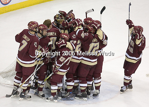 Boston College celebrates their win. The Boston College Eagles defeated the University of Wisconsin Badgers 3-0 on Friday, October 27, 2006, at the Kohl Center in Madison, Wisconsin in their first meeting since the 2006 Frozen Four Final which Wisconsin won 2-1 to take the national championship.<br />