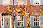 Fall foliage colors historic Beacon Hill, Boston, MA