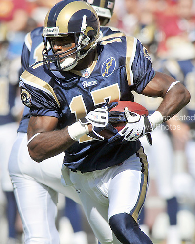 Landover, MD - October 12, 2008 -- St. Louis Rams wide receiver Donnie Avery (17) in action against the Washington Redskins at FedEx Field in Landover, Maryland on Sunday, October 12, 2008.  The Rams won the game 19 - 17..Credit: Ron Sachs / CNP