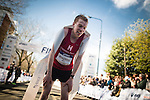 © Joel Goodman - 07973 332324 . 10/04/2016 . Manchester , UK . STEVEN BAYTON , winner of the race at the 40th Greater Manchester Marathon . Photo credit : Joel Goodman