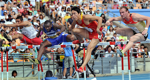 28 08 2011   Daegu  China s Liu Xiang 2nd r competes during The Heat of Men s 110m Hurdles AT The IAAF World Championships in Daegu South Korea Aug 28 2011 Liu Advanced to The Next Round with 13 20 Seconds