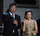 """Washington, DC - October 13, 2009 -- Performers George Lopez and Eva Longoria Parker host a White House Music Series """"Fiesta Latina"""" with United States President Barack Obama on the South Lawn of the White House in Washington on Tuesday, October 13, 2009. .Credit: Alexis C. Glenn / Pool via CNP"""