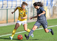 20190813 - DENDERLEEUW, BELGIUM : PAOK's Maria Paterna pictured defending on LSK's Synne Skinnes Hansen (left) during the female soccer game between the Greek PAOK Thessaloniki Ladies FC and the Norwegian LSK Kvinner Fotballklubb Ladies , the third and final game for both teams in the Uefa Womens Champions League Qualifying round in group 8 , Tuesday 13 th August 2019 at the Van Roy Stadium in Denderleeuw  , Belgium  .  PHOTO SPORTPIX.BE for NTB | DAVID CATRY