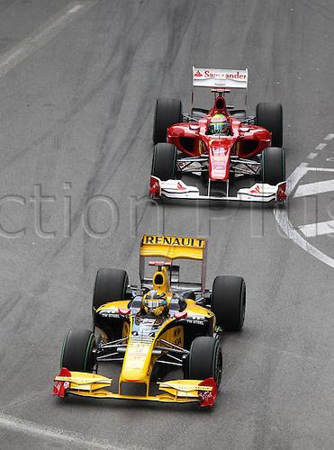 16 05 2010   Robert Kubica Renault and Felipe Massa Scuderia Ferrari in a tight line through one of the curves. Formula 1 GP Monaco motor racing men Formula 1 World Cup GP Monaco Monte Carlo