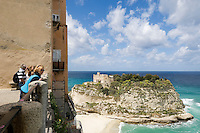 Italy, Calabria, Protea: L'Isola (island) with sanctuary Santa Maria dell'Isola, tourists at view point