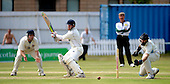 Scottish National Cricket League - Premier Div - West of Scotland CC V Aberdeenshire, at Hamilton Cres, Glasgow - West batsman Ross Brown (who top-scored for West on 47) hits the ball wide and past 'Shire keeper Colin Smith - Picture by Donald MacLeod 11.07.09