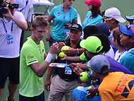 Washington, DC - August 4, 2017: Kevin Anderson signs autographs after his quarterfinal match with Yuri Bhambri at the Citi Open held at the Rock Creek Tennis Center in Washington, D.C., August 4, 2017.  (Photo by Don Baxter/Media Images International)