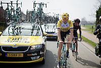 Sep Vanmarcke (BEL/LottoNL-Jumbo) between the teamcars<br /> <br /> 103rd Scheldeprijs 2015