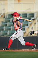 Cole Freeman (8) of the Hagerstown Suns follows through on his swing against the Kannapolis Intimidators at Kannapolis Intimidators Stadium on May 4, 2018 in Kannapolis, North Carolina.  The Intimidators defeated the Suns 11-0.  (Brian Westerholt/Four Seam Images)
