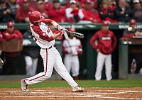 NWA Democrat-Gazette/BEN GOFF @NWABENGOFF<br /> Jacob Nesbit, Arkansas third baseman, hits a single in the 2nd inning vs LSU Thursday, May 9, 2019, at Baum-Walker Stadium in Fayetteville.