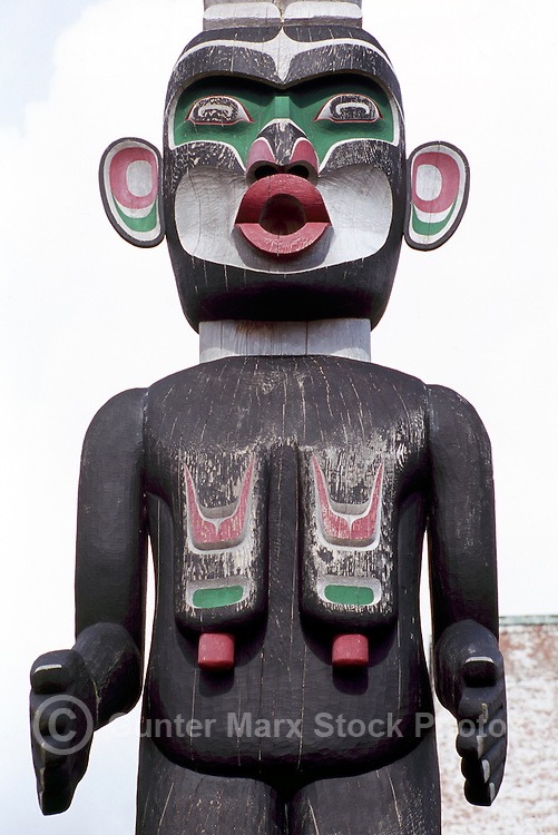 Kwakwaka'wakw (Kwakiutl) Totem Pole, Alert Bay, Cormorant Island, BC, British Columbia, Canada - Closeup Detail of Dzoonokwa (Wild Woman of Woods)