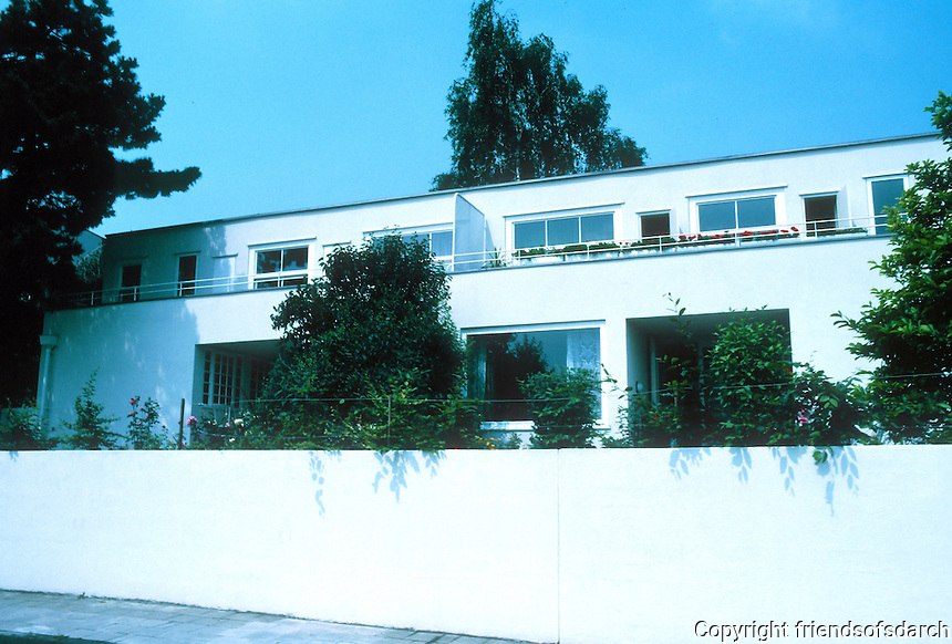 Stuttgart: Weissenhofsiedlung, semi-detached or duplex on Rathenaurstr. Josef Frank of Vienna.