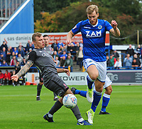 Lincoln City's Harry Anderson vies for possession with Macclesfield Town's Jamie Grimes<br /> <br /> Photographer Andrew Vaughan/CameraSport<br /> <br /> The EFL Sky Bet League One - Macclesfield Town v Lincoln City - Saturday 15th September 2018 - Moss Rose - Macclesfield<br /> <br /> World Copyright &copy; 2018 CameraSport. All rights reserved. 43 Linden Ave. Countesthorpe. Leicester. England. LE8 5PG - Tel: +44 (0) 116 277 4147 - admin@camerasport.com - www.camerasport.com