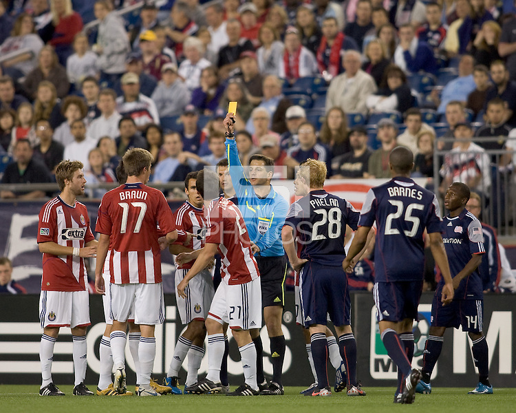 Yellow card to Chivas USA midfielder Ben Zemanski (21). Chivas USA defeated the New England Revolution, 4-0, at Gillette Stadium on May 5, 2010.