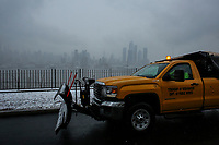 WEEHAWKEN NYJ- FEBRUARY 20: A car spread salt as Snow falls on February 20, 2019 from Weehawken New Jersey.  (Photo by Kena Betancur/VIEWpress/Corbis via Getty Images)