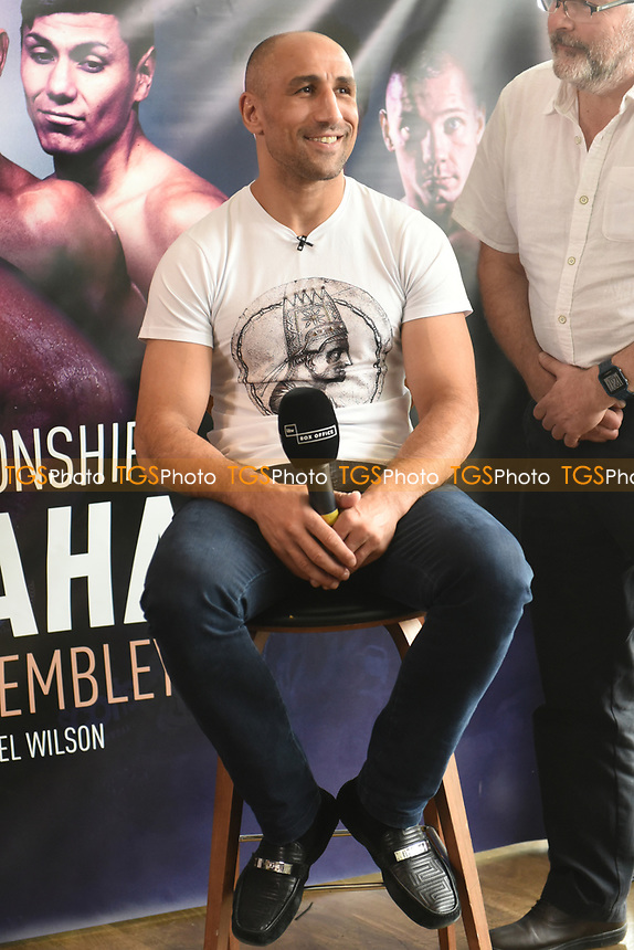 Arthur Abraham on a stool during a Press Conference at the Sky Bar, Hilton Hotel on 13th July 2017