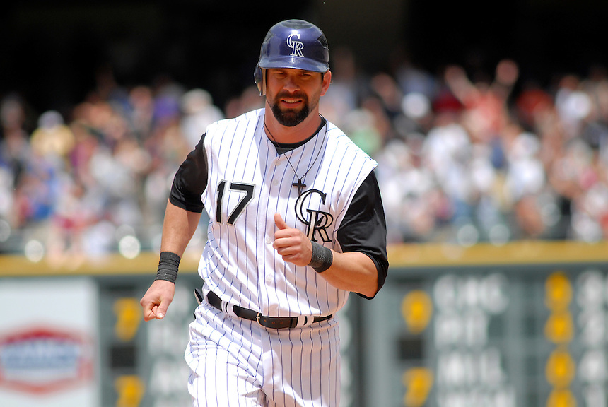 08 June 2008: Rockies 1st baseman Todd Helton during a regular season game between the Milwaukee Brewers and the Colorado Rockies at Coors Field in Denver, Colorado.*****For editorial use only*****