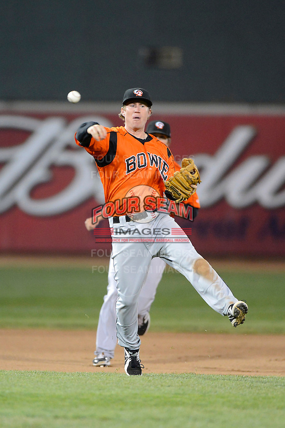 Bowie Baysox third baseman Ty Kelly #22 throws to first during a game against the Erie Seawolves on April 23, 2013 at Jerry Uht Park in Erie, Pennsylvania.  Erie defeated Bowie 4-1.  (Mike Janes/Four Seam Images)