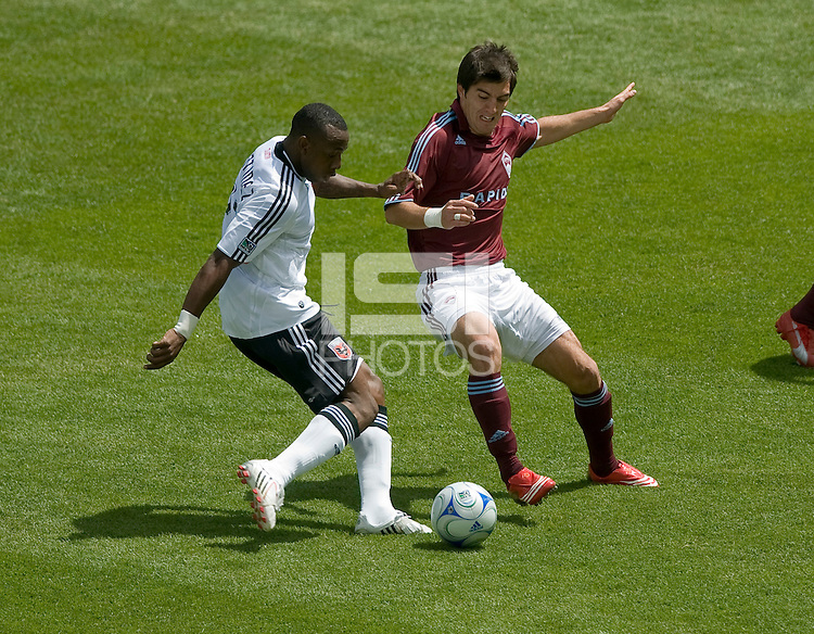 Gonzalo Martinez (white) is tackled by Facundo Erpen (red). The Colorado Rapids defeated D.C. United 2-0. Dick's Sporting Goods Park, Denver, Colorado. May 4, 2008.