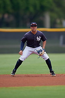 New York Yankees Wilkerman Garcia (3) during a Minor League Spring Training game against the Atlanta Braves on March 12, 2019 at New York Yankees Minor League Complex in Tampa, Florida.  (Mike Janes/Four Seam Images)