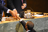 United States President Barack Obama speaks to the United Nations General Assembly in New York, New York, Wednesday, September 21, 2011at UN Headquarters..Credit: Aaron Showalter / Pool via CNP