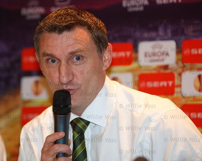 Sing along a Tony.  Celtic manager Tony Mowbray at the UEFA Europa League press conference in Hamburg