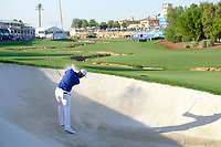 Lucas Bjerregaard (DEN) on the 18th bunker during the 1st round of the DP World Tour Championship, Jumeirah Golf Estates, Dubai, United Arab Emirates. 15/11/2018<br /> Picture: Golffile | Fran Caffrey<br /> <br /> <br /> All photo usage must carry mandatory copyright credit (&copy; Golffile | Fran Caffrey)