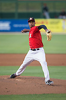 Kannapolis Intimidators starting pitcher Yency Almonte (17) in action against the Hickory Crawdads at CMC-Northeast Stadium on May 21, 2015 in Kannapolis, North Carolina.  The Intimidators defeated the Crawdads 2-0 in game two of a double-header.  (Brian Westerholt/Four Seam Images)